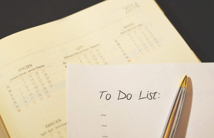 checklist with pen and calendar