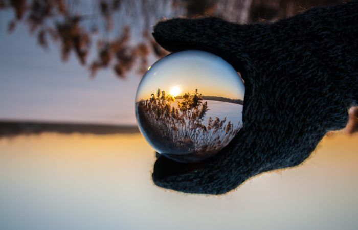 reflection of sunset over a lake
