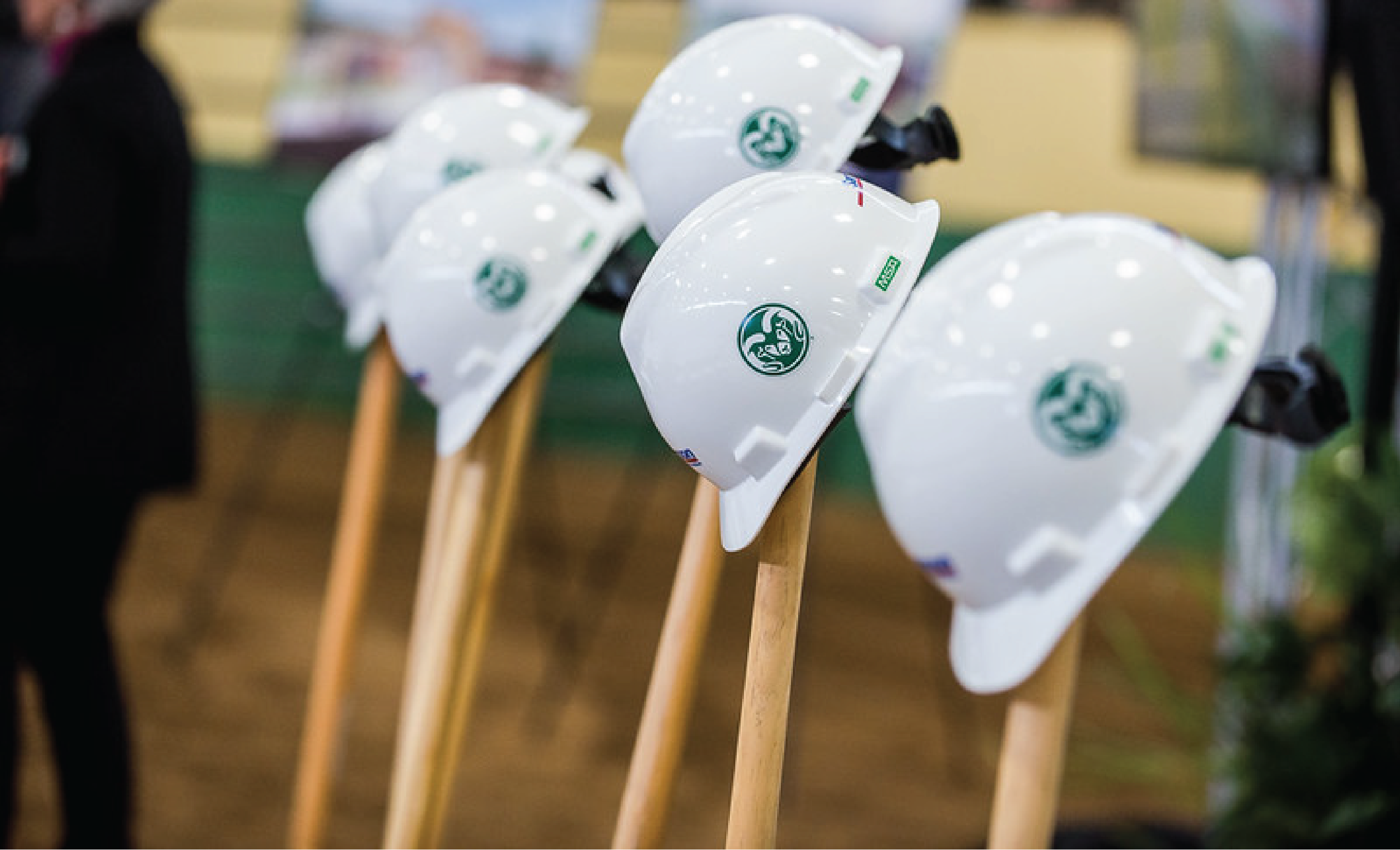 CSU hardhats on shovels