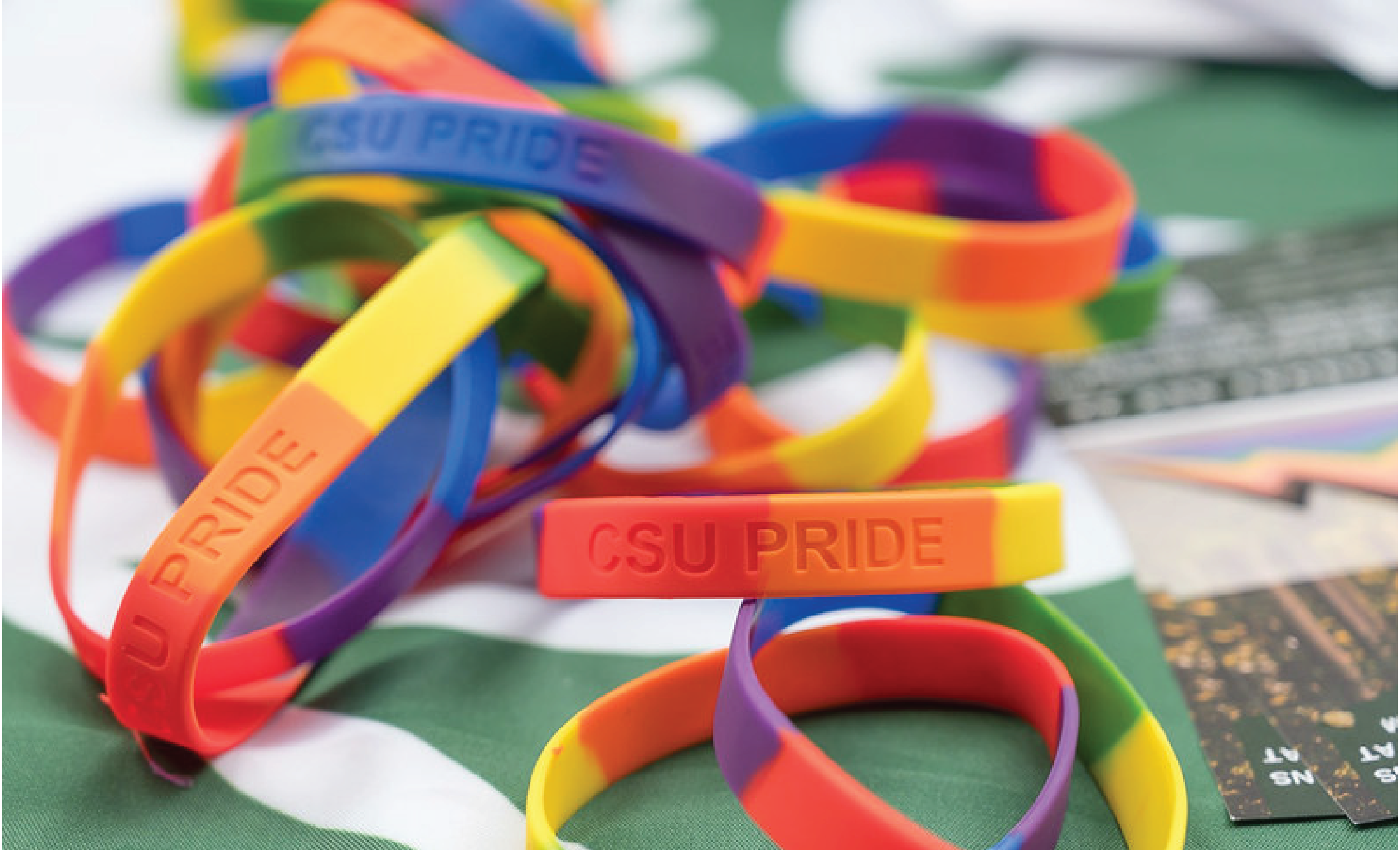 A collection of CSU Pride bracelets