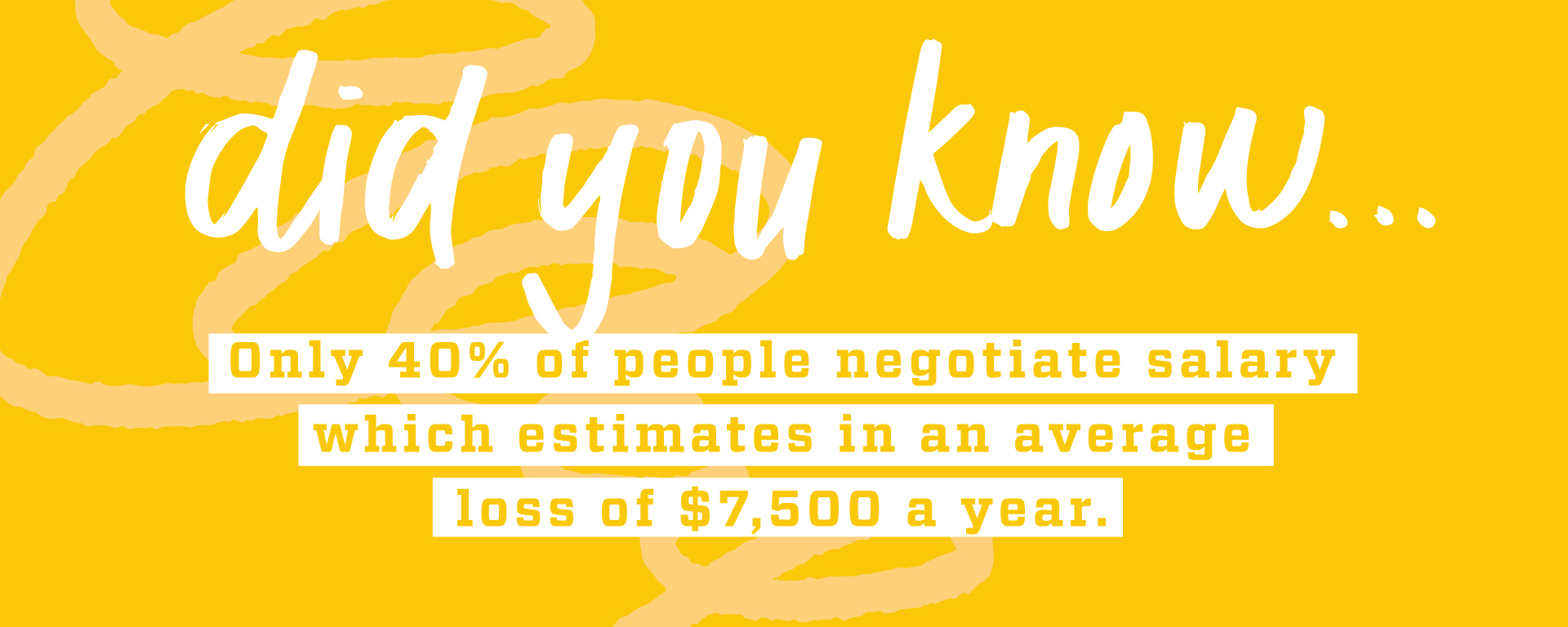 Did you know...Only 40% of people negotiate their salary which estimates an average loss of $7,500 a year. Come to Drop Ins at the Career Center Mondays - Fridays 10 am - 2 pm
