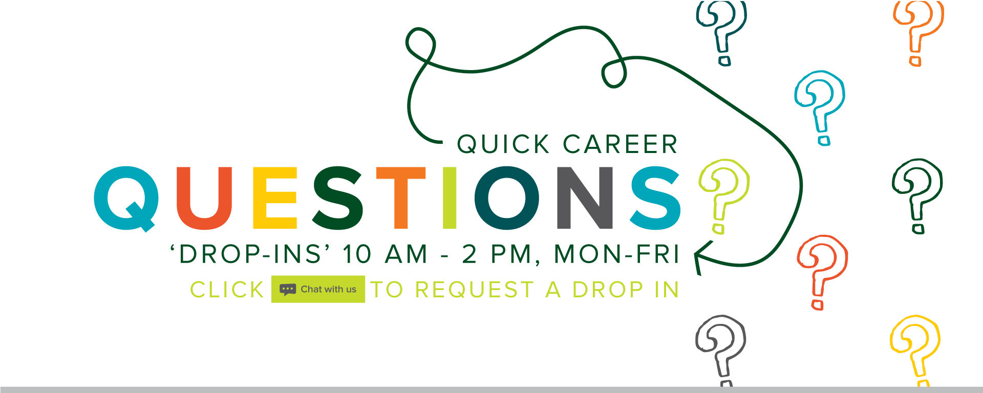 "Quick career question? Monday thru Friday between 10 am - 2 pm Click the ""Chat with us"" button on the lower right corner of the website to request a drop in."